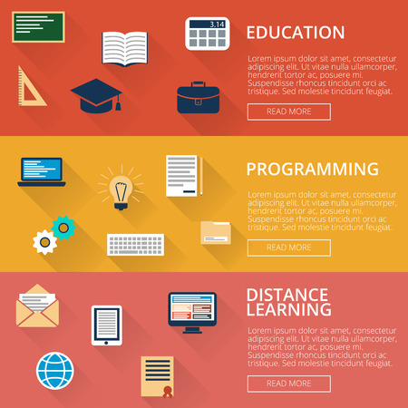 distance learning: set of three banners with the image education, programming, distance learning. Icons in a flat style with shadow