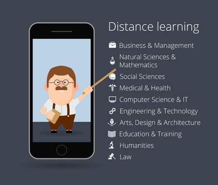 distance: distance learning. Professor in mobile phone. List of academic disciplines. Business and management, natural sciences and mathematics, social, medical, health, computer, IT, engineering.