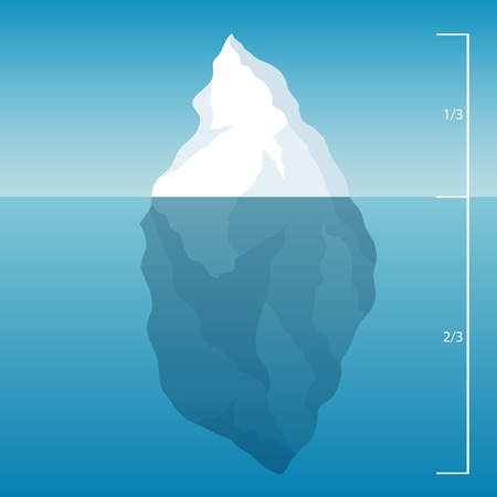 tip of iceberg: Iceberg in sea. Ice water. illustration background.