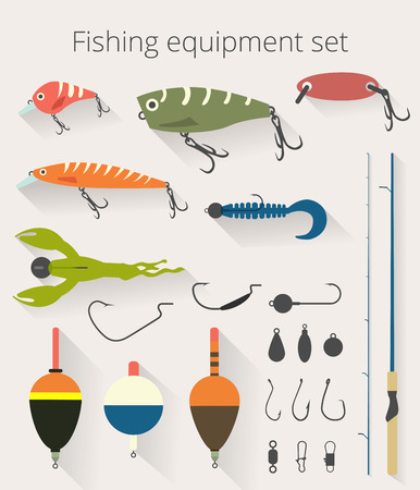 Fishing set of accessories for spinning fishing with crankbait lures and twisters and soft plastic bait fishing float. Stock Illustratie