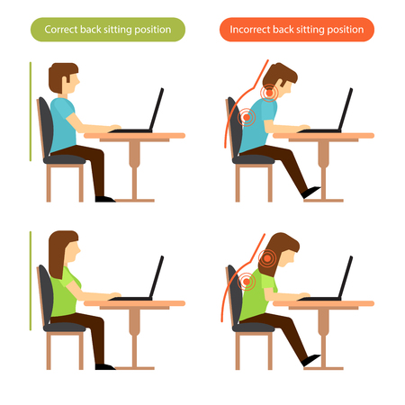 Correct and incorrect back sitting position at the workplace.