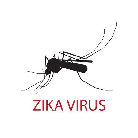 silueta de un mosquito en un fondo blanco. zika vendedor ambulante de virus.