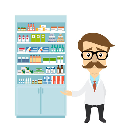 dispensary: Health care. Male pharmacist in a pharmacy opposite the shelves with medicines.