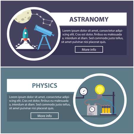 scholar: physics and astronomy banners with the concept of scientific equipment and work space for the teacher or scholar. Flat design illustration