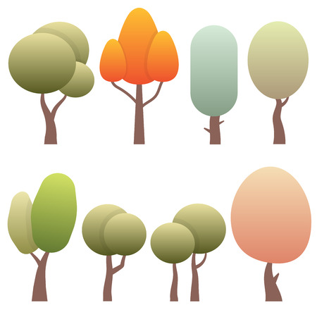 forest trees: set diversity of trees isolated on white background Illustration