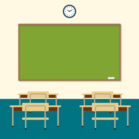 School classroom with chalkboard and desks. Class for education, board, table and study, blackboard and lesson.