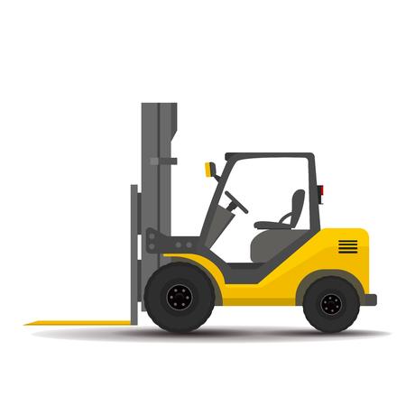 work crate: Bare detailed forklift, loader on a white background. flat illustration Illustration