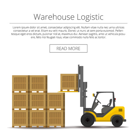 Warehouse logistic. forklift picks up a box. background flat illustration Vettoriali