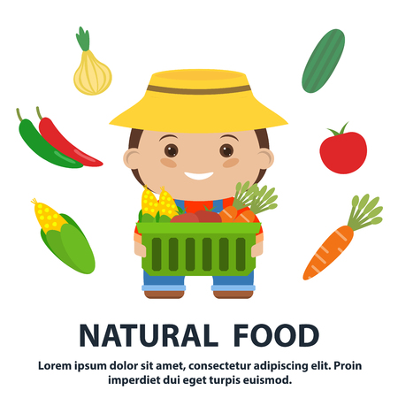 agrarian: fresh food. fruits and vegetables icons set. farmer with a box in his hand