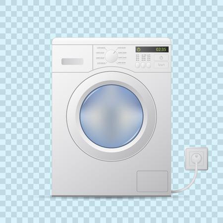 Machine à laver un fond transparent. Vue de face. vecteur réaliste éditable