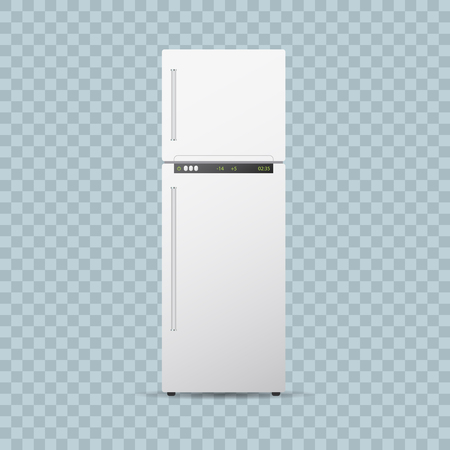 frig: Fridge or freezer on transparent background.. Editable realistic vector illustration Illustration