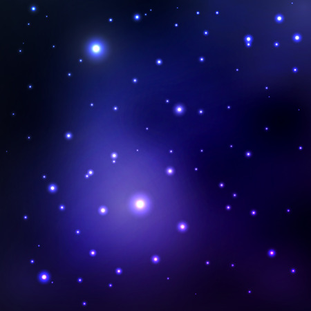 galaxies: abstract space background with stars. blue space nebula and black hole. image of distant galaxies and planets glow Illustration