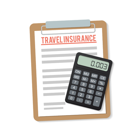 obligations: travel insurance, paper and a calculator in the flat style
