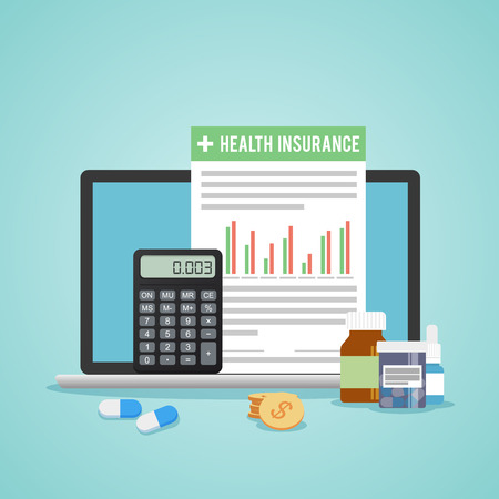 medical bill: Health insurance form concept. Filling medical documents. Calculator and drugs, money