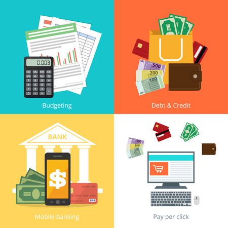 personal finance: Set personal finance illustration in flat syle Illustration