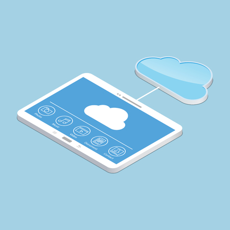 cloud service: Cloud service. Concept design of the tablet storage files. Isometric illustration
