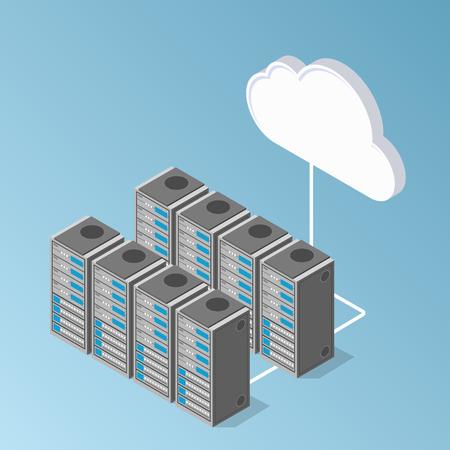 서버 하드웨어 투시도. 클라우드와 데이터 교환
