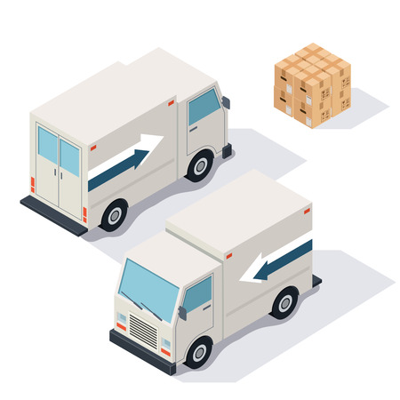 front loading: car cargo delivery isolated on white foneyu isometric illustration