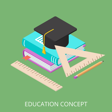 promotional products: Vector concept of learning. Flat 3d isometric illustration. Self-learning, training courses, tutorial. Can be used for banners, web sites, promotional products