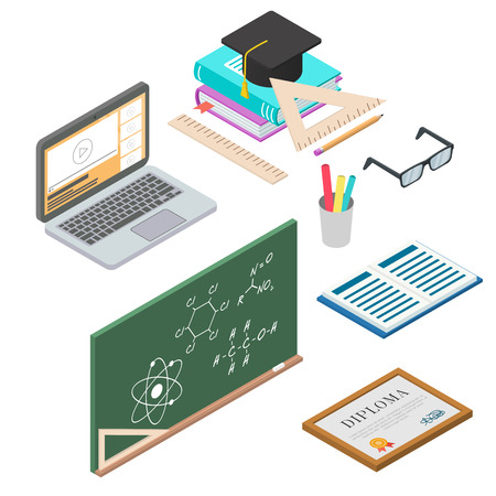 promotional products: set of vector learning concept. flat 3d isometric illustration. Objects related to school and university education. Can be used for banners, web sites, promotional products