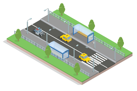 commercial tree service: 3d isometric stretch of road to the bus stop and machinery, lawn and trees, crosswalk and lampposts Illustration