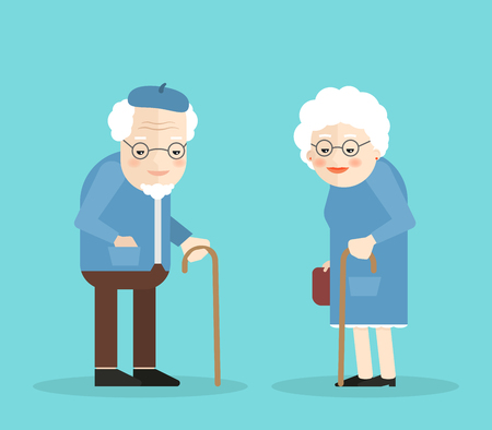 older couple: Happy old man and woman with glasses and walkins cane. Isolated on blue background. Flat illustartion. Eps 10 Illustration