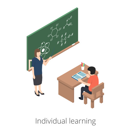 Individual learning. teacher explains the lessons of the student. 3d isometric illustration. EPS 10 vector. Flat style illustration Illustration