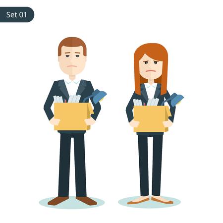 失業者の悲しい男と金融危機の際に自分の手でボックスを持つ女性。フラットの図は、白い背景で隔離。