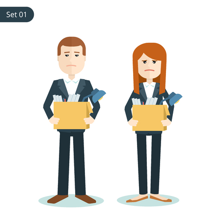 unemployed dismissed: unemployed sad man and woman with boxes in their hands during the financial crisis. flat illustration isolated on white background.