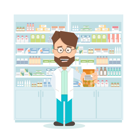 medications: smiling pharmacist in a pharmacy. shelves with medications