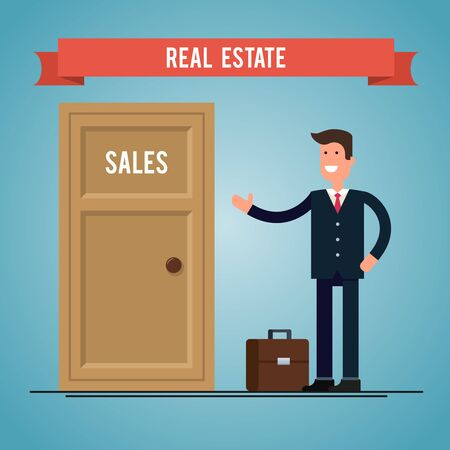 bought: real estate agent near the door bought apartments Illustration