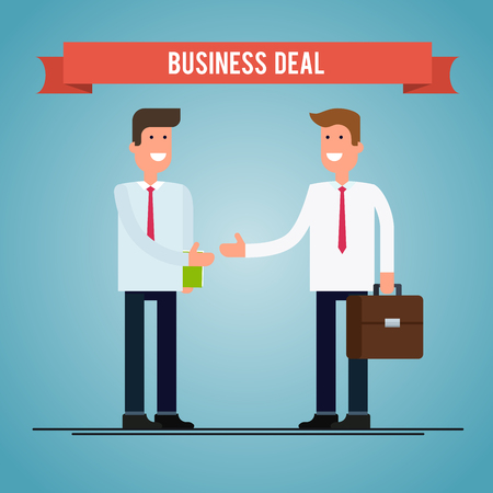 business deal: Business deal. People shaking hands. flat illustration