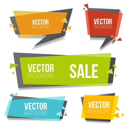 double page: colorful banners set. Geometric banner isolated on white background