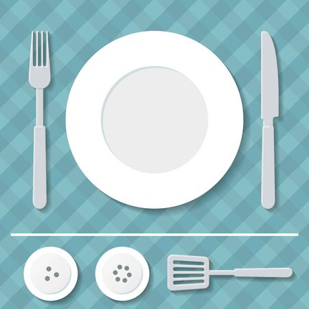 pepperbox: set of kitchen utensils on the tablecloth
