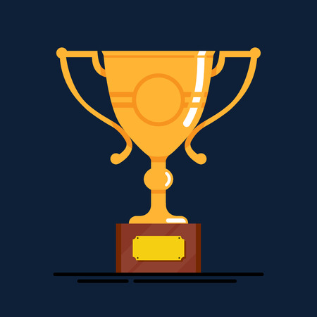 gold cup: Gold cup. Trophy winner isolated on blue background Illustration