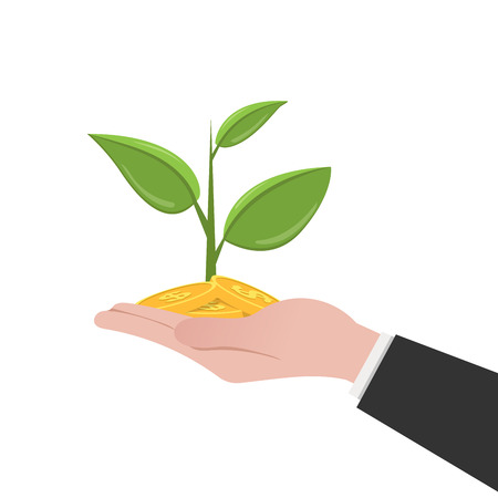buisness: Money tree on a human hand. Web icon money tree. Flat illustration isolated on white background Illustration