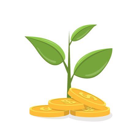 돈 나무. 머니 트리 아이콘. 돈 나무 평면 그림입니다. 돈 나무 격리 된 그림입니다. 그림자와 함께 돈 나무