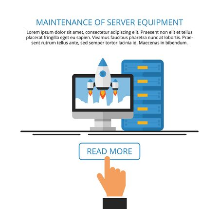 computer services: Maintenance of server equipment. Computer services. Landing page. flat illustration.