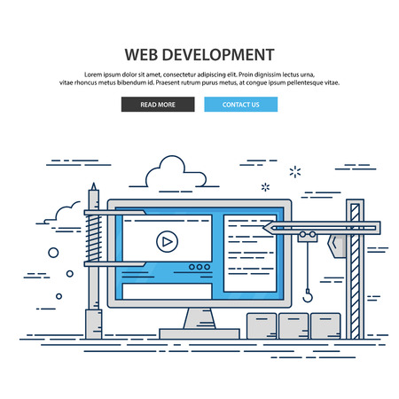 Thin line flat design of website under construction. web page building process. Иллюстрация