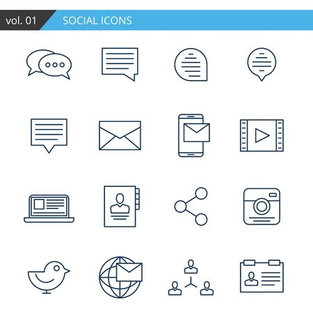 feedback link: Modern line icons set of social. Premium quality
