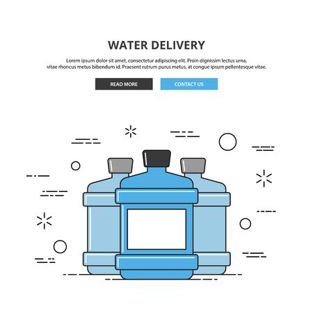 distilled: Water delivery web banner. Thin line vector illustration. Premium quality
