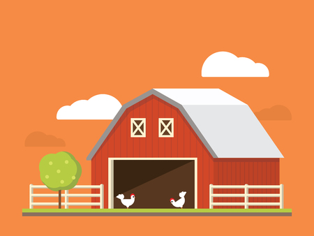 agribusiness: Agriculture and farming. Agribusiness. Rural landscape flat illustration Illustration