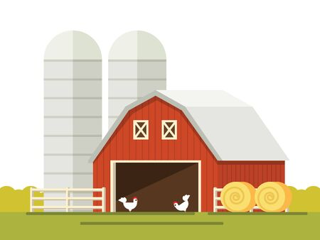 storing: Farm and barn for storing grain in a flat style. stack of hay