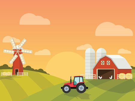 green hills: Farm with a mill and tractor in the green hills