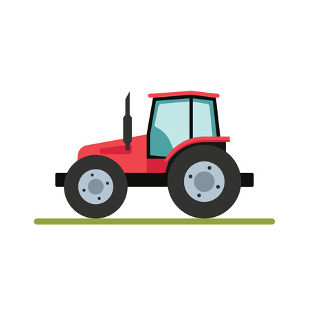 traction: Tractor isolated on white background. Flat illustration. Illustration