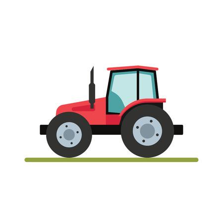 agronomics: Tractor isolated on white background. Flat illustration. Illustration