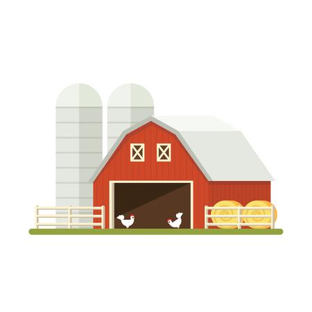 privy: Farm isolated on white background. Flat illustration