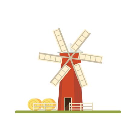 Mill isolated on white background. Flat illustration