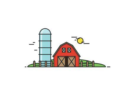 Farm in flat line style. Isolated illustration Illustration