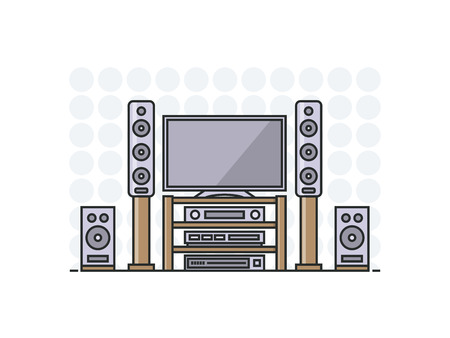 home cinema: home cinema system in flat line stile. Isolated illustration.